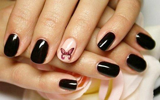 Дизайн шилака на коротких ногтях