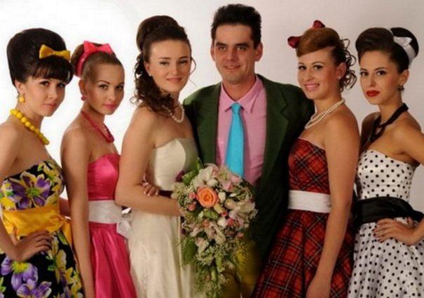 мужчина с женщинами стиляги