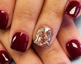 Шеллак с бордовым цветом на длинные и короткие ногти